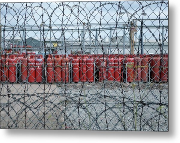 Propane Canisters In Secure Compound Metal Print