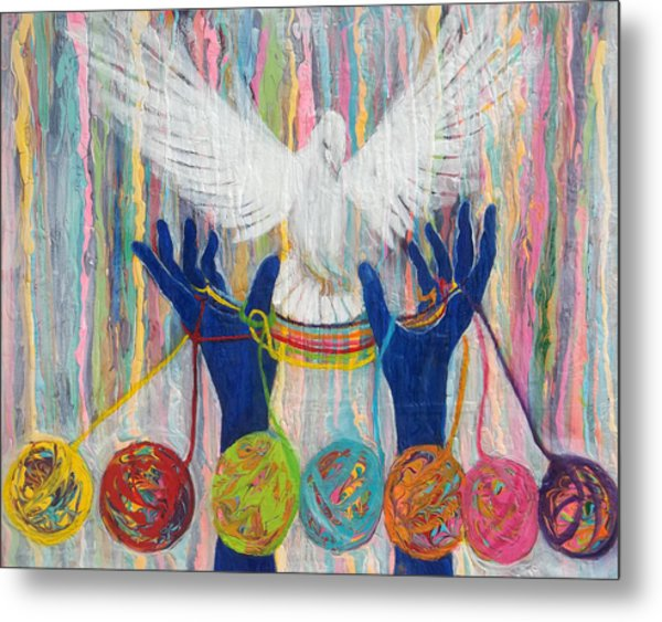 Prophetic Message Sketch 20 What Woman Will Rise Up    Yarn Hands Woven Nest Or Bridge For Dove  Metal Print