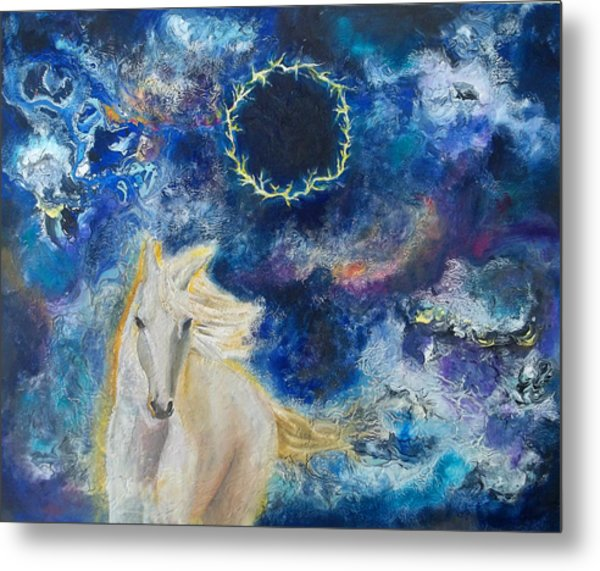 Prophetic Message Sketch Painting 6 Ring Of Lightning White Horse Metal Print