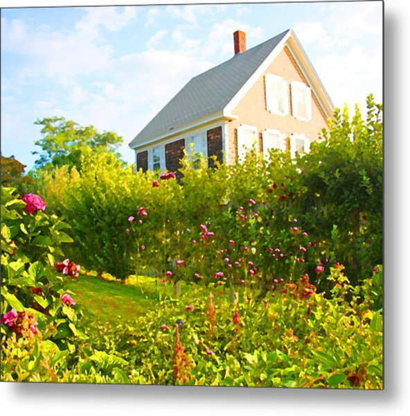 Provincetown Cottage With Green Brown And Pink Metal Print