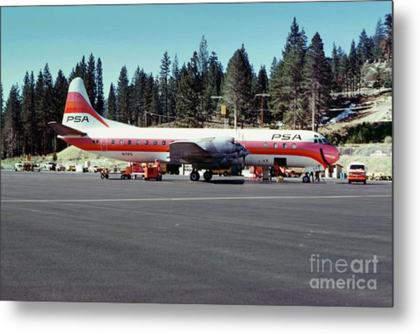 Psa Lockheed L188c Electra   N171p Cindy Lake Tahoe Airport Metal Print