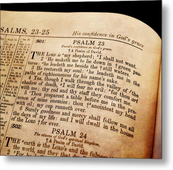 Psalm 23 - The Lord Is My Shepherd Metal Print