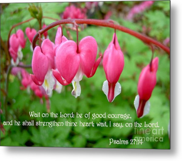 Psalms 27 14 Bleeding Hearts Metal Print