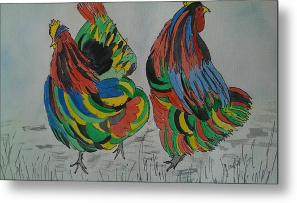 Psychedelic Chooks Metal Print