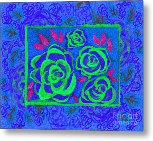 Psychedelic Roses - Summer Metal Print