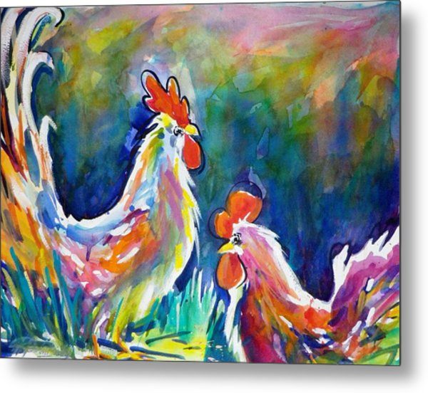 Psychodelic Cluckers Metal Print by Therese Fowler-Bailey