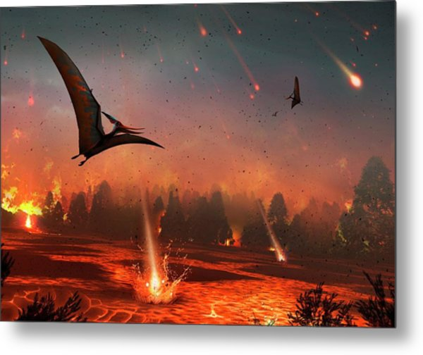 Pterosaurs And Mass Extinction Metal Print by Mark Garlick