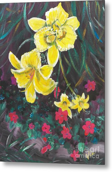 Ptg. Day Lillies And Impatients Metal Print