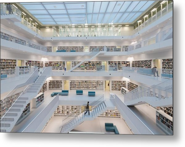 Public Library Stuttgart - Modern Architecture And Lots Of Books Metal Print