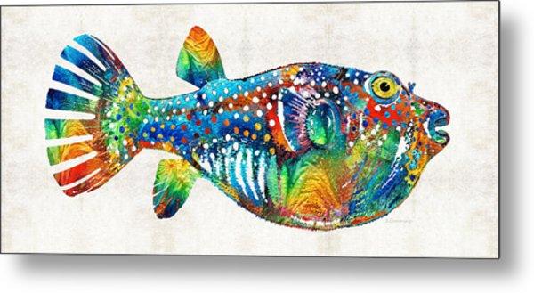 Puffer Fish Art - Blow Puff - By Sharon Cummings Metal Print