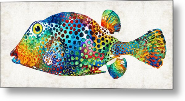 Puffer Fish Art - Puff Love - By Sharon Cummings Metal Print