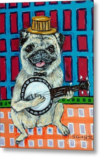 Pug Playing Banjo Metal Print by Jay  Schmetz