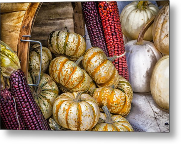 Pumpkin Basket Metal Print