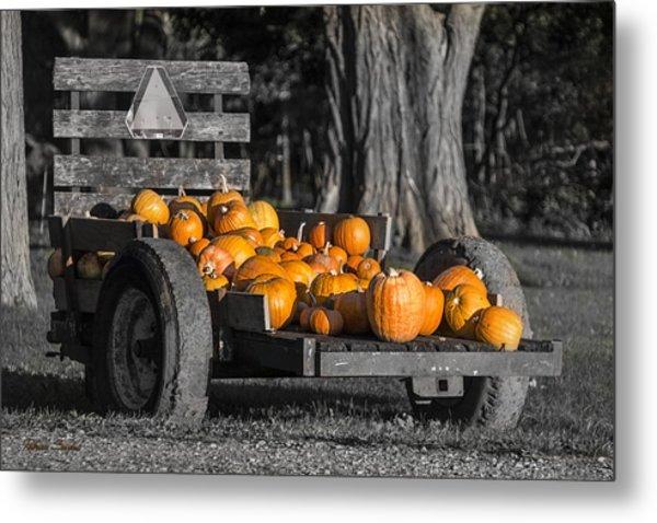 Pumpkin Cart Metal Print