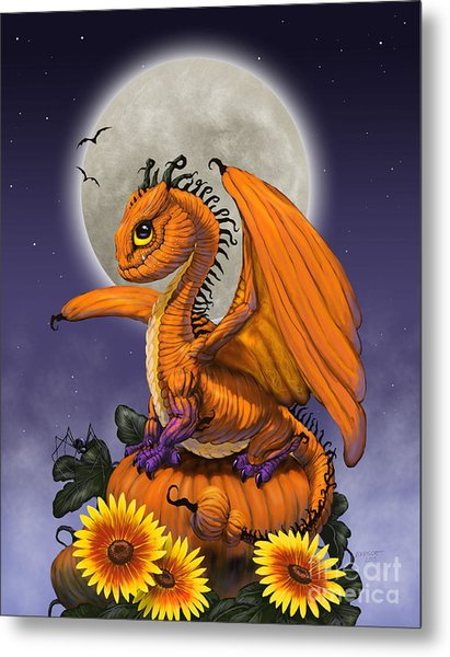 Pumpkin Dragon Metal Print