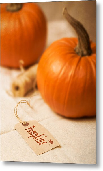 Pumpkin Label Metal Print