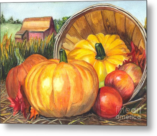 Pumpkin Pickin Metal Print