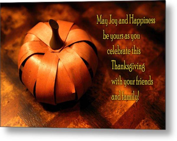Pumpkin Thanksgiving Card Metal Print
