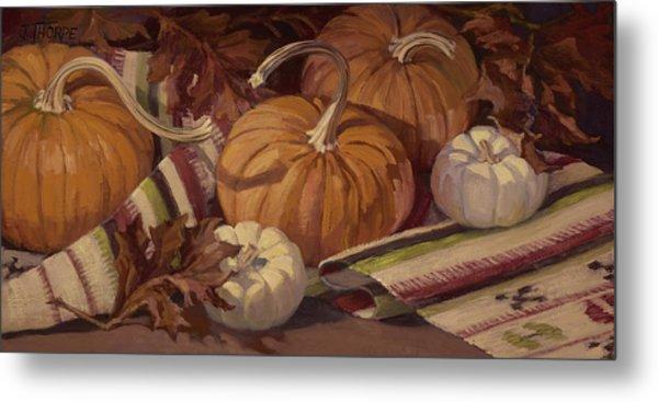 Pumpkins And Leaves Metal Print