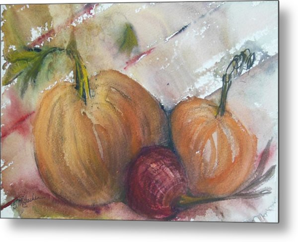 Pumpkins And Onion Metal Print