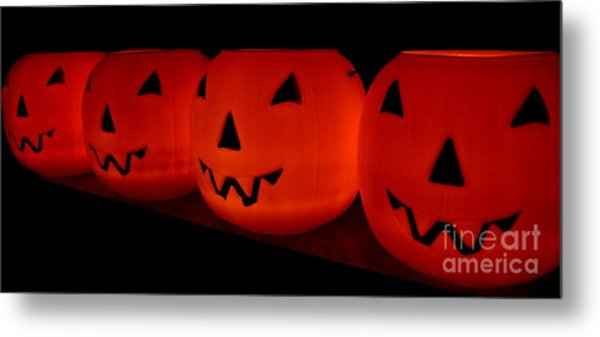 Pumpkins Lined Up Metal Print