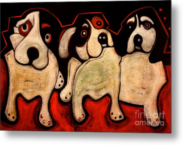 Puppies In A Row Metal Print