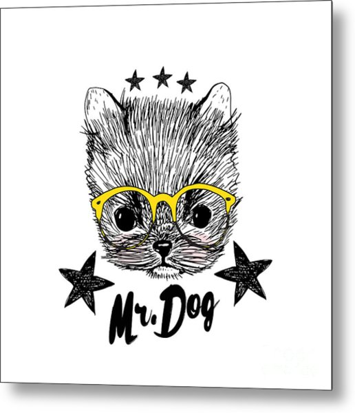Puppy And Yellow Glasses Illustration Metal Print