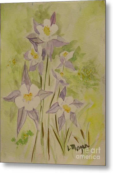 Purple And White Columbines Metal Print