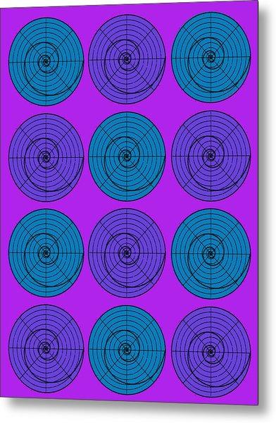 Purple Aqua Orb Circle Bubble Pop A La After Warhol Metal Print