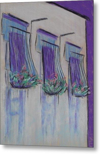 Purple Balconies Metal Print by Marcia Meade