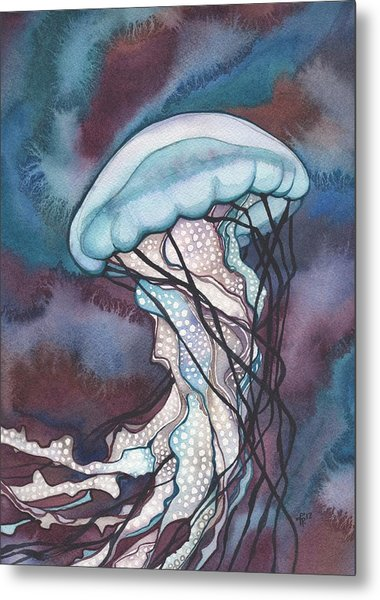 Purple Bold Jellyfish Metal Print