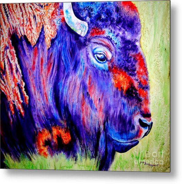 Purple Buffalo Metal Print by Tracy Rose Moyers