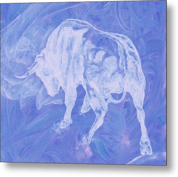 Purple Bull Negative Metal Print