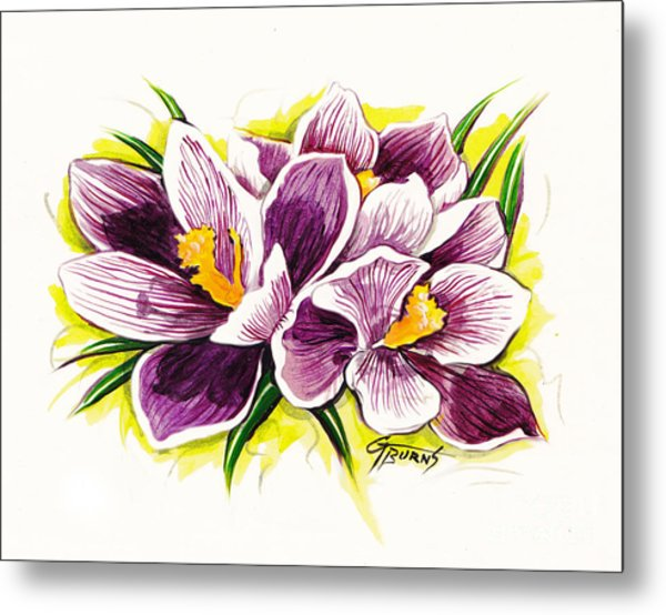 Purple Crocus Watercolor Metal Print by GG Burns