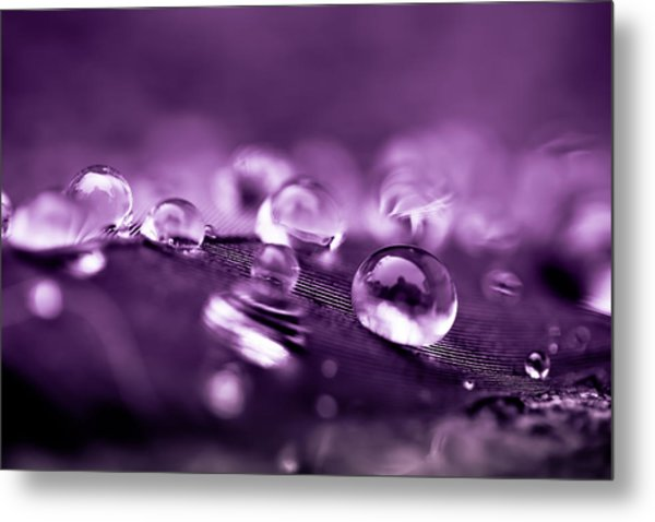 Purple Droplets Metal Print