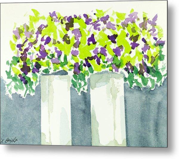 Purple Flowers Abstract Metal Print