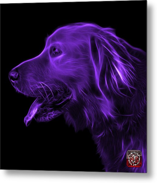 Purple Golden Retriever - 4047 F Metal Print
