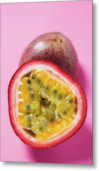 Purple Granadilla (passion Fruit), Halved Metal Print