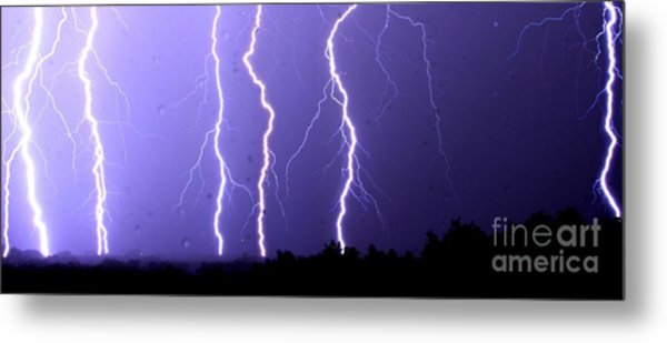Purple Rain Lightning Metal Print