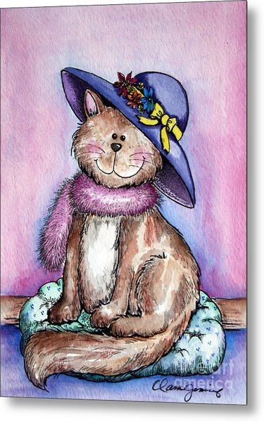Purple Hat Cat Metal Print