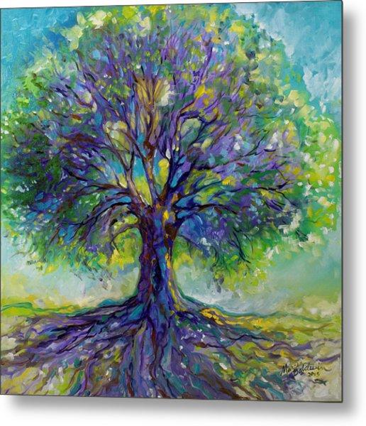 Purple Heart Tree Of Life Metal Print