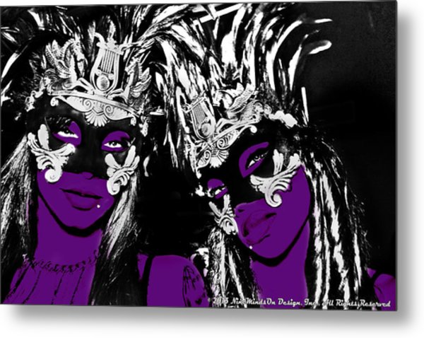 Purple Mask Metal Print by Ley Clarie Gray