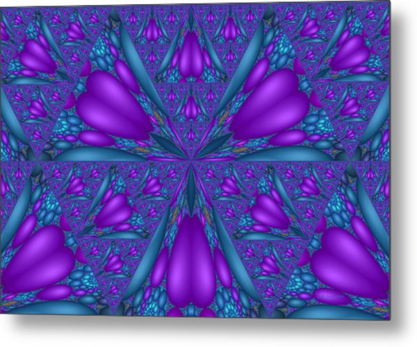 Purple Mixed Fractal Flower Metal Print