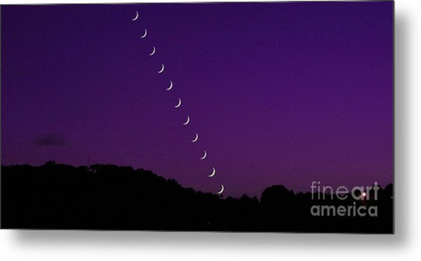 Purple Moon Setting In West Metal Print