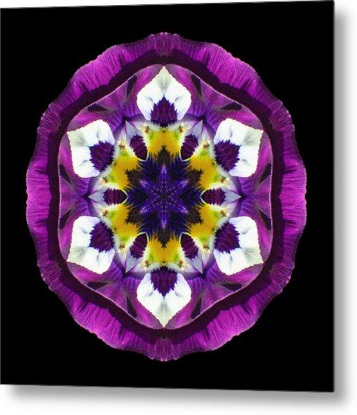 Purple Pansy II Flower Mandala Metal Print