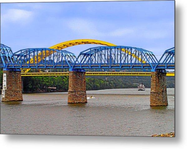 Purple People Bridge And Big Mac Bridge - Ohio River Cincinnati Metal Print