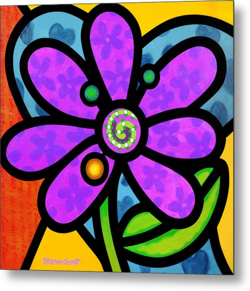 Purple Pinwheel Daisy Metal Print