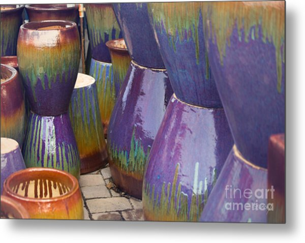 Purple Pots Metal Print