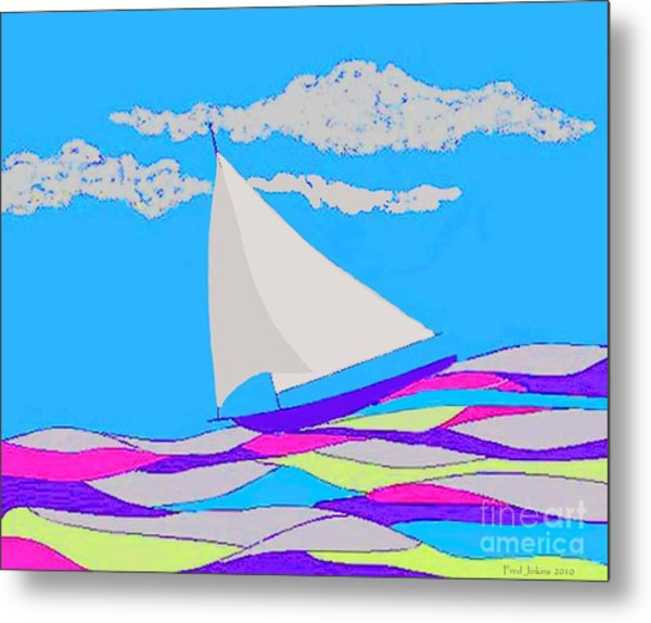Purple Sailboat Metal Print
