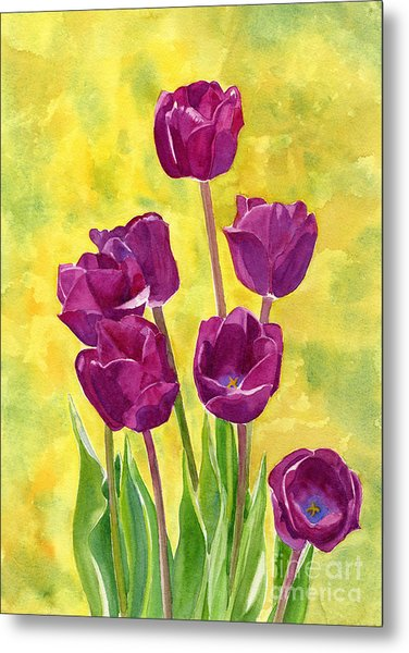 Purple Tulips With Textured Background Metal Print